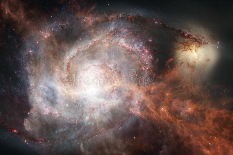 Incredibly beautiful galaxy somewhere in deep space. Science fiction wallpaper royalty free illustration