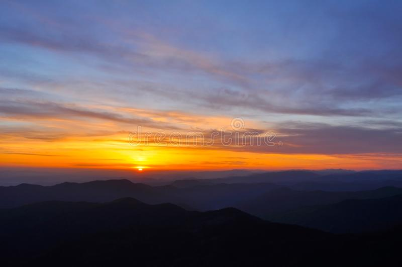 Incredibly beautiful landscape of mountains sunset or sunrise high in the mountains royalty free stock photography