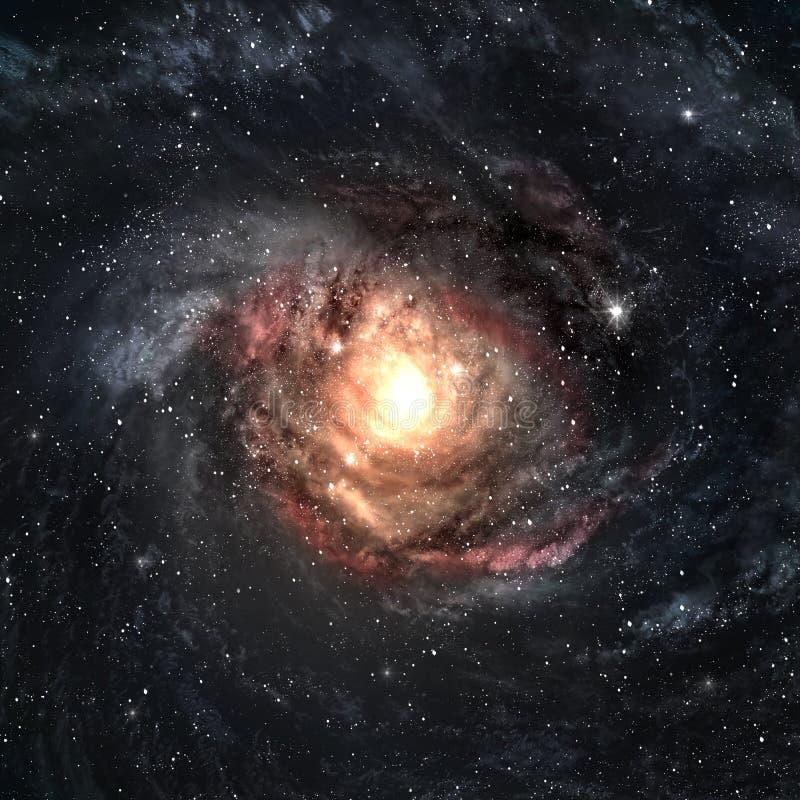 Incredibly härligt röra sig i spiral galaxen någonstans in stock illustrationer