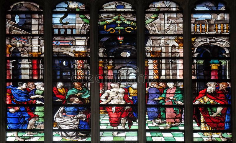 The Incredulity of Saint Thomas. Stained glass window from Saint Germain-l `Auxerrois church in Paris, France stock images