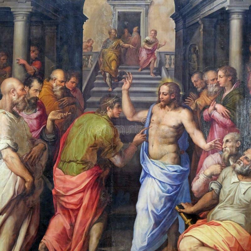 The Incredulity of St. Thomas, Basilica di Santa Croce in Florence. The Incredulity of St. Thomas, 1572 by Giorgio Vasari, Basilica di Santa Croce Basilica of stock image