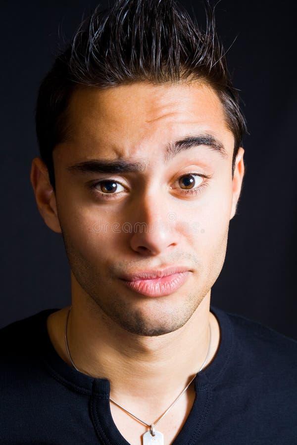 Incredulous Funny Man With Eyebrow Raised Royalty Free Stock Photos
