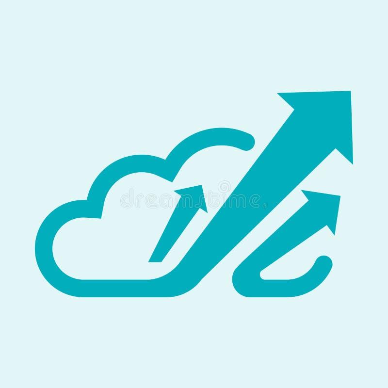 incremento verde do logotipo da nuvem para vendas aumentadas e a segurança do sistema melhorada ilustração royalty free