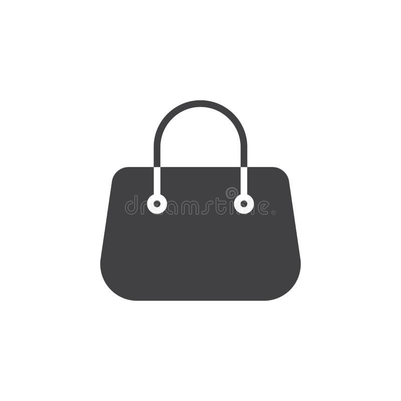 Increspi il vettore dell'icona della borsa, il segno piano riempito, pittogramma solido isolato su bianco illustrazione vettoriale