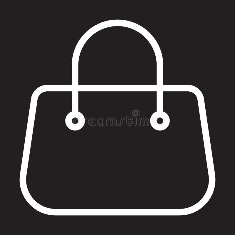 Increspi la linea l'icona, il segno bianco del profilo, illustrazione della borsa di vettore illustrazione di stock