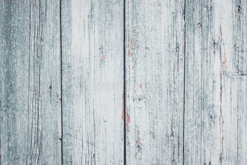 Incrinato di pittura grigia sul recinto Bordi bianchi miseri Superficie di legno grigia Vecchio fondo di struttura del recinto Co fotografie stock