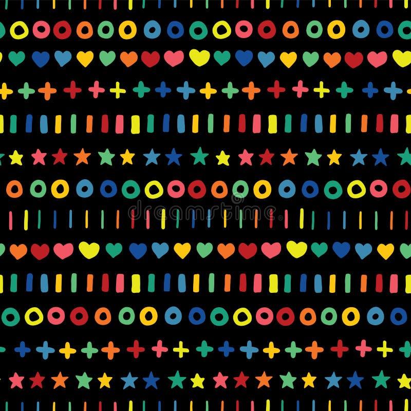 Incroci e bande dei cerchi dei cuori delle stelle di scarabocchio nei colori dell'arcobaleno in una fila Forme geometriche disegn illustrazione di stock