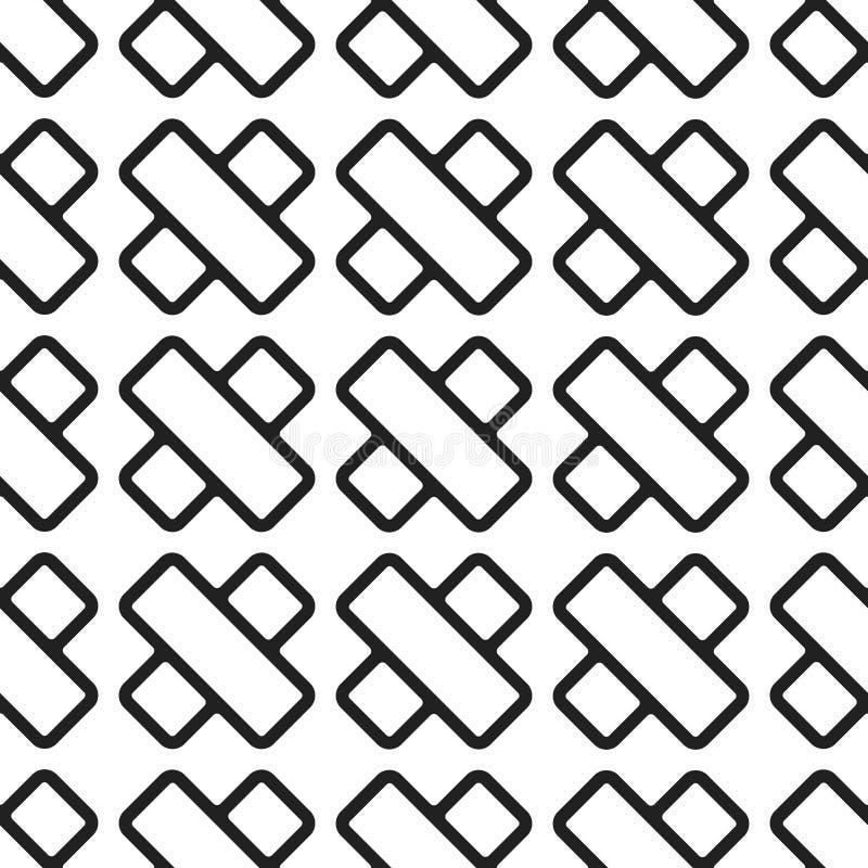 Incroci neri sul modello senza cuciture del fondo bianco illustrazione di stock