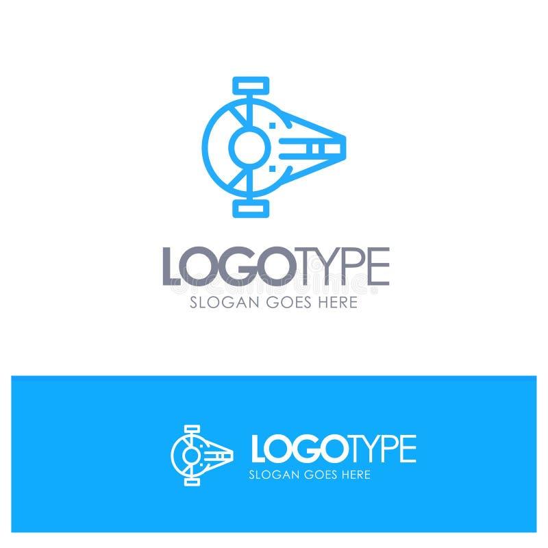 Incrociatore, combattente, intercettore, nave, logo blu del profilo del veicolo spaziale con il posto per il tagline illustrazione vettoriale