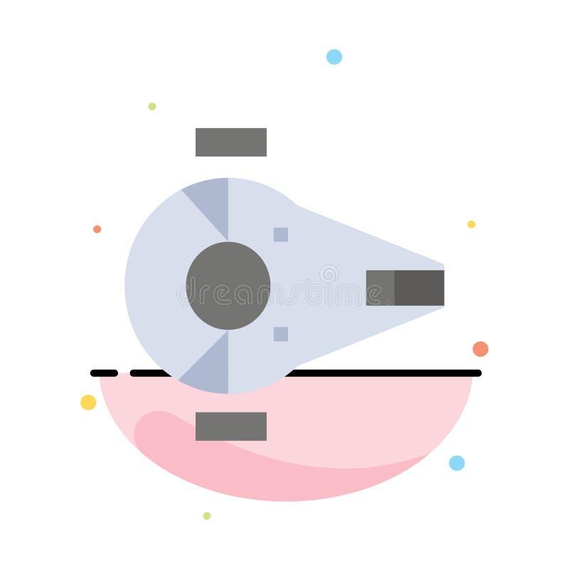 Incrociatore, combattente, intercettore, nave, modello piano dell'icona di colore dell'estratto del veicolo spaziale illustrazione di stock