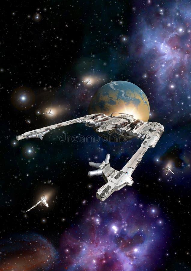 Incrociatore dello spazio con il combattente della scorta royalty illustrazione gratis