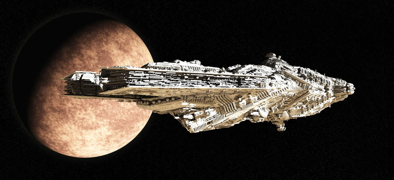 Incrociatore di battaglia che lascia orbita illustrazione di stock