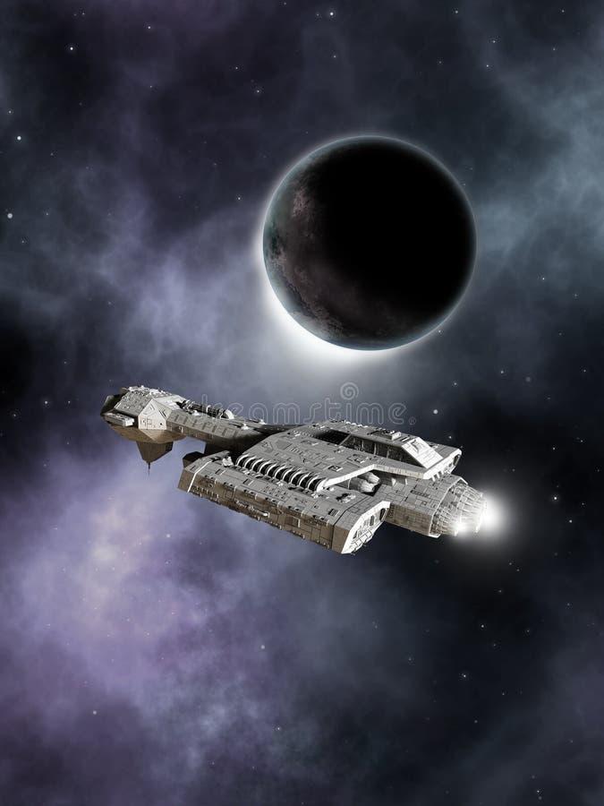 Incrociatore di battaglia della fantascienza, mondo scuro royalty illustrazione gratis