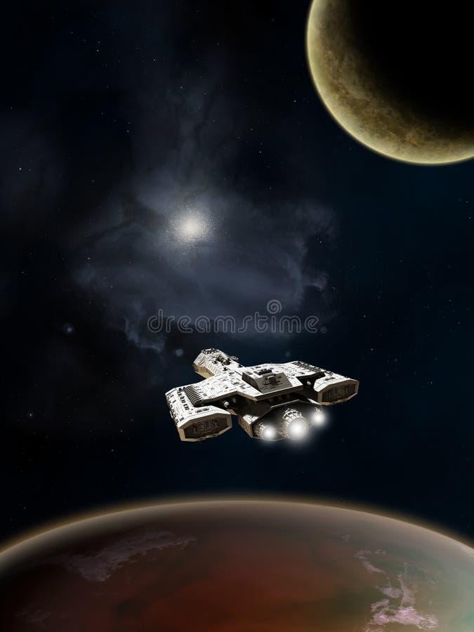 Incrociatore di battaglia della fantascienza, spazio profondo illustrazione di stock
