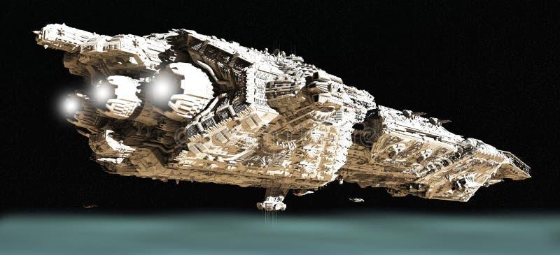 Incrociatore di battaglia nell'orbita bassa - 2 illustrazione di stock