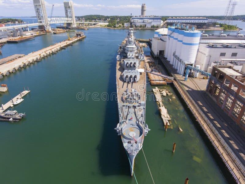 Incrociatore pesante di USS Salem CA-139, Quincy, mA, U.S.A. immagini stock libere da diritti