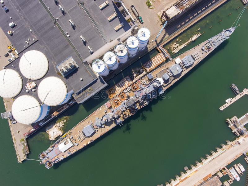 Incrociatore pesante di USS Salem CA-139, Quincy, mA, U.S.A. fotografia stock