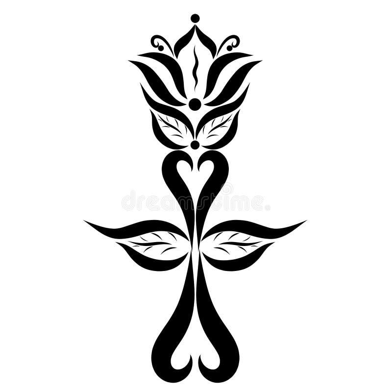 Incrocio con il giglio, simboli cristiani, eternità di Pasqua illustrazione vettoriale