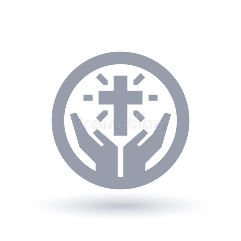 Incrocio con l'icona delle mani Simbolo cristiano di culto Elogio s della chiesa illustrazione di stock