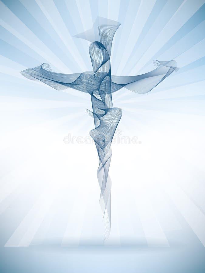 Incrocio cristiano astratto di vettore con i raggi luminosi Effetto s di miscela illustrazione di stock