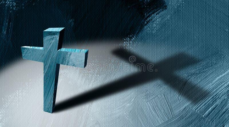 Incrocio cristiano con il fondo grafico astratto gettato lungo dell'ombra illustrazione vettoriale