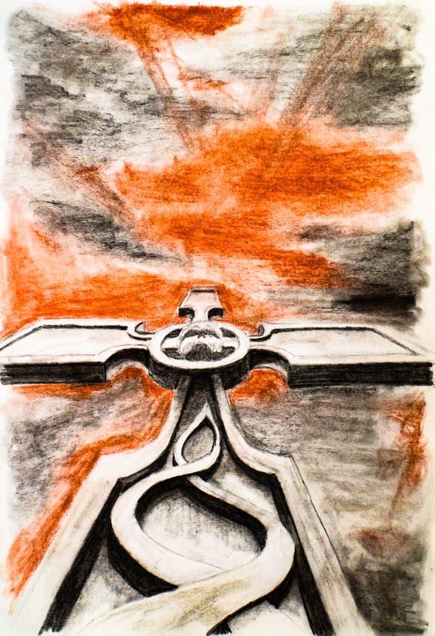 Incrocio cristiano con un cranio nel mezzo Stile trasversale arrabbiato Cielo sanguinoso scuro sopra la tomba illustrazione vettoriale