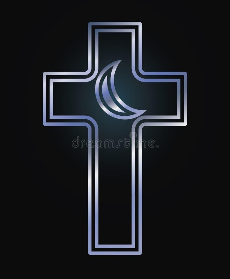 Incrocio cristiano e simboli crescenti islamici illustrazione di stock