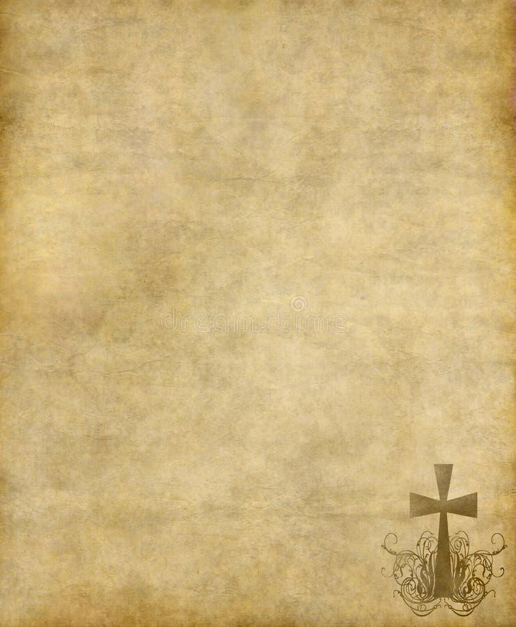 Incrocio cristiano su vecchio documento illustrazione vettoriale