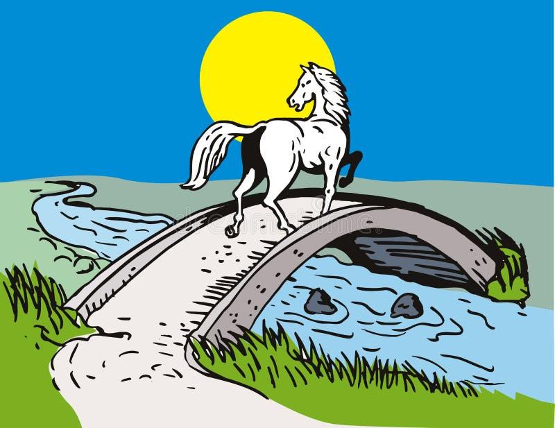 Incrocio del cavallo sopra il ponticello royalty illustrazione gratis