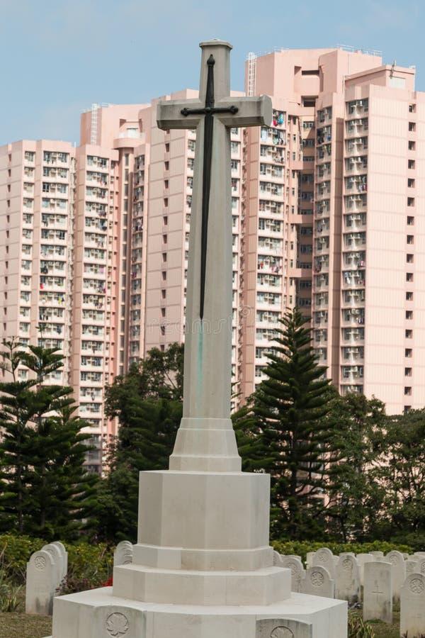 Incrocio del sacrificio in Sai Wan War Cemetery, un cimitero della Commissione delle tombe di guerra del commonwealth in Hong Kon fotografie stock libere da diritti