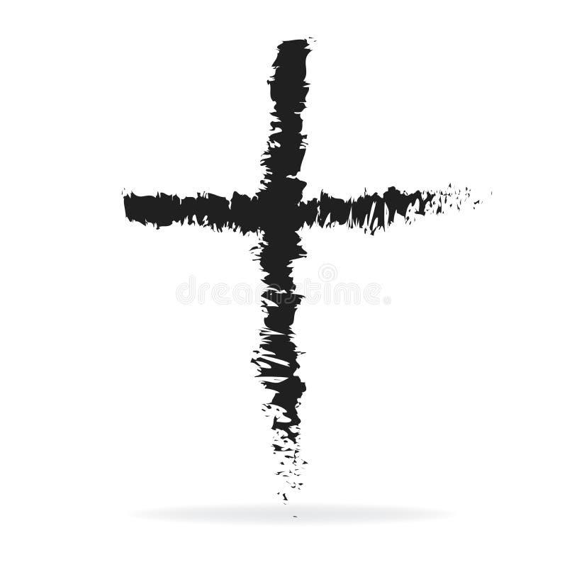 Incrocio del simbolo cristiano di religione delle ceneri nello stile di lerciume illustrazione di stock