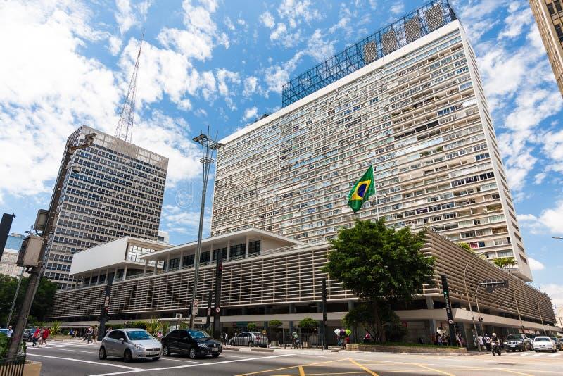 Incrocio di Avenida Paulista e di Rua Augusta, Sao Paulo, Brasile immagini stock libere da diritti