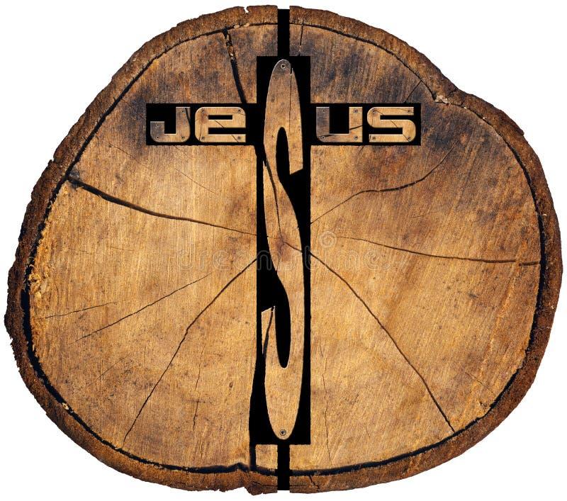 Incrocio di legno di Gesù sul tronco di albero illustrazione vettoriale
