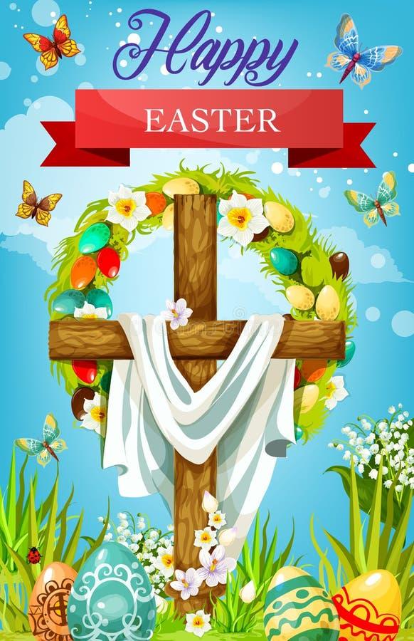 Incrocio di Pasqua con le uova, i fiori del giglio e lo schermo illustrazione di stock
