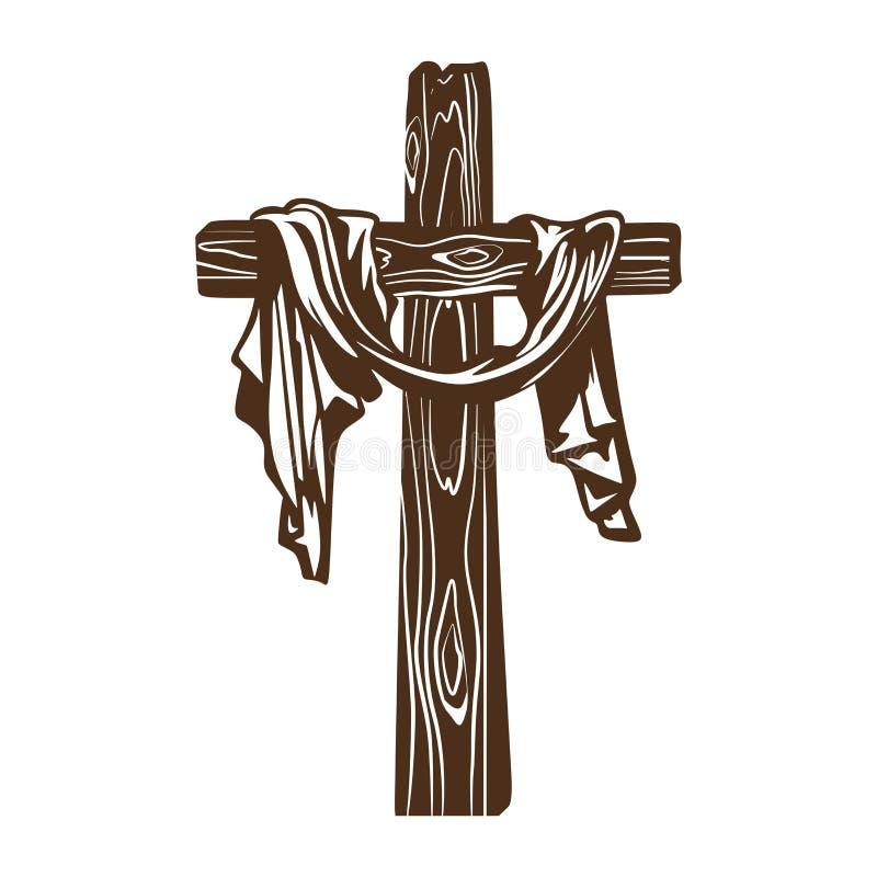Incrocio disegnato a mano di Gesù con drappi illustrazione vettoriale