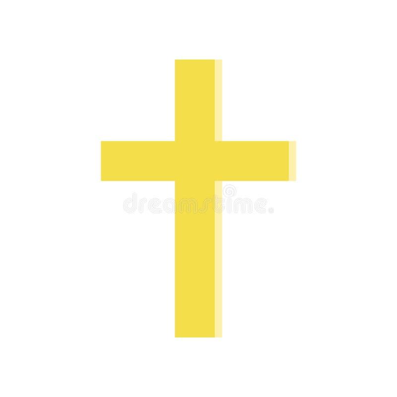Incrocio dorato nello stile piano Simbolo della chiesa cattolica romana Icona religiosa semplice Elemento di progettazione di vet illustrazione di stock