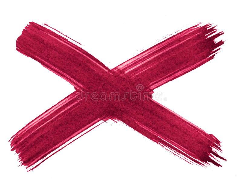 Incrocio, X - fondo rosso persiano dell'estratto dell'acquerello, macchia, pittura della spruzzata, macchia, divorzio royalty illustrazione gratis