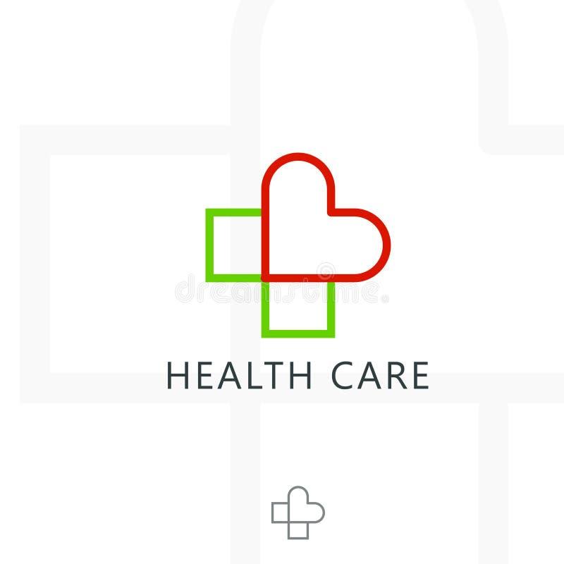 Incrocio più il logo medico del cuore Elementi del modello di progettazione dell'icona di vettore illustrazione vettoriale