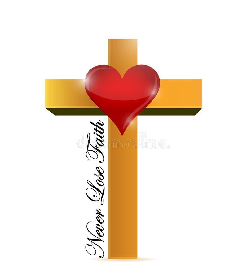 Incrocio religioso non perda mai il messaggio di fede illustrazione vettoriale