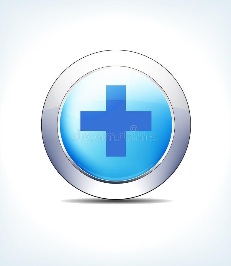 Incrocio, sanità & Pharma blu dell'ospedale del bottone dell'icona illustrazione di stock