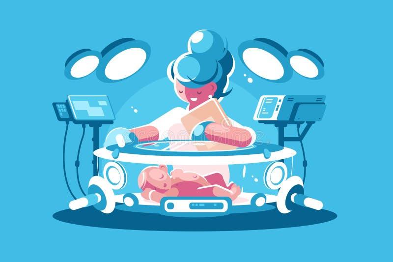 Incubateur d'enfant d'infirmière avec le bébé illustration de vecteur
