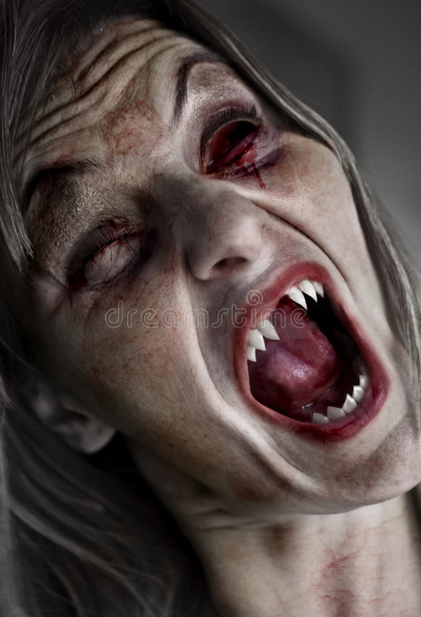 Incubus. Portrait of a scary female ghoul or zombie royalty free stock photography