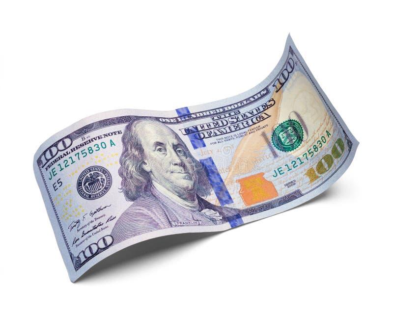 Incurvé cent billet d'un dollar photo stock