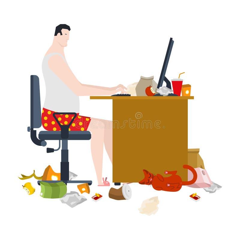 Indépendant et table de sale travail lieu de travail dégoûtant Travail à distance a illustration libre de droits