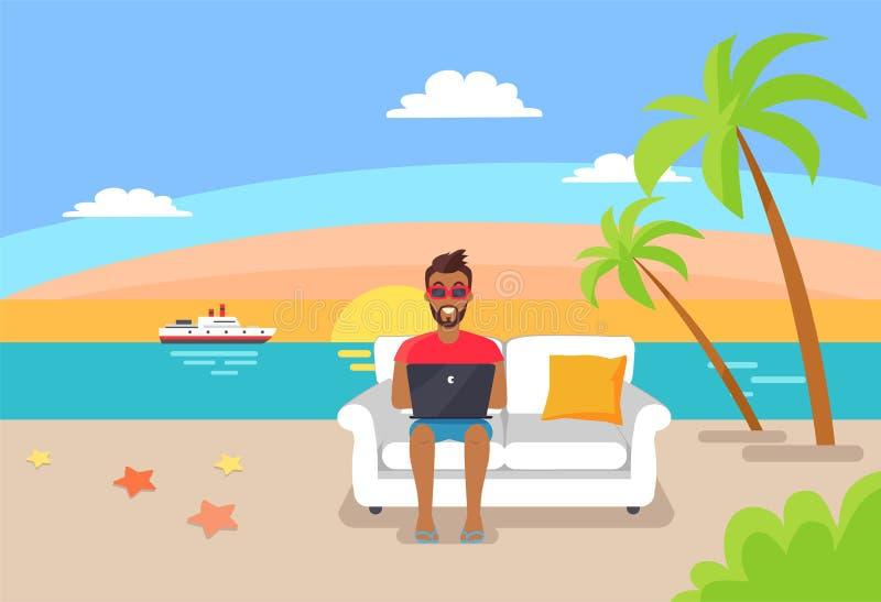 Indépendant travaillant sur l'ordinateur portable se reposant sur le sofa confortable illustration de vecteur