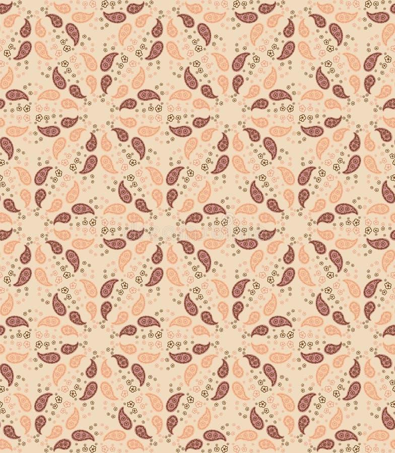 Indígena Desenhada à Mão Paisley Motif Padrão Invisível Ornate Arabesque Buta Foulard Design no fundo do mosaico Ogee pintado ilustração do vetor