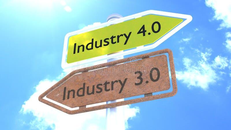 Indústria 4 0 conceitos do futuro do sinal ilustração stock