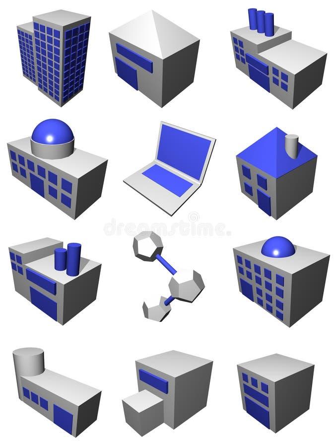 Indústria da logística da cadeia de aprovisionamento ajustada no azul cinzento ilustração royalty free