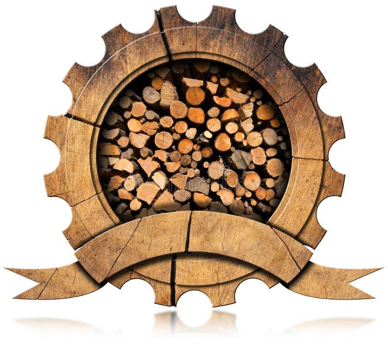 Indústria da madeira serrada - ícone de madeira ilustração do vetor