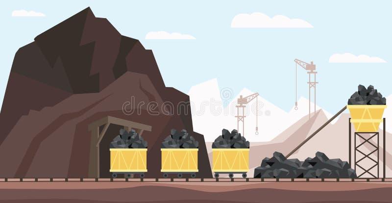 Indústria da mina de carvão e ilustração do vetor do transporte com as pilhas do recurso mineral preto nos minecarts ilustração royalty free